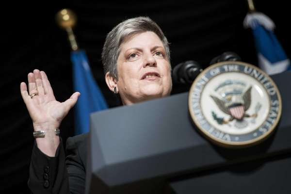 Secretary of Homeland Security Janet Napolitano speaks during