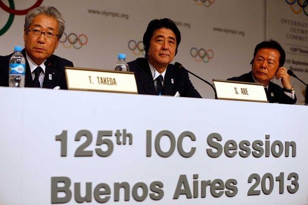 From left, Tokyo 2020 President Tsunekazu Takeda, Prime