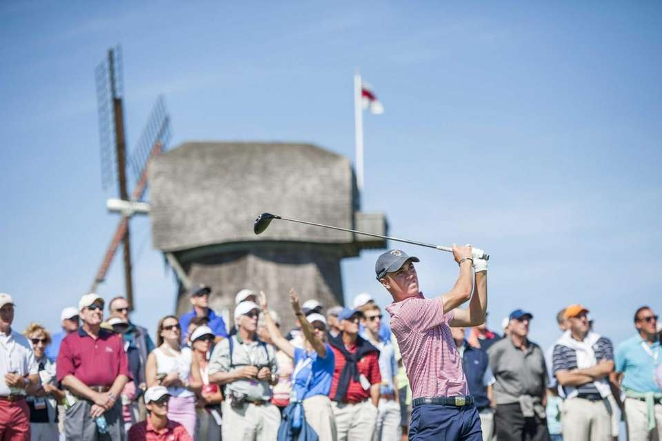 U.S.'s Justin Thomas tees off at the third