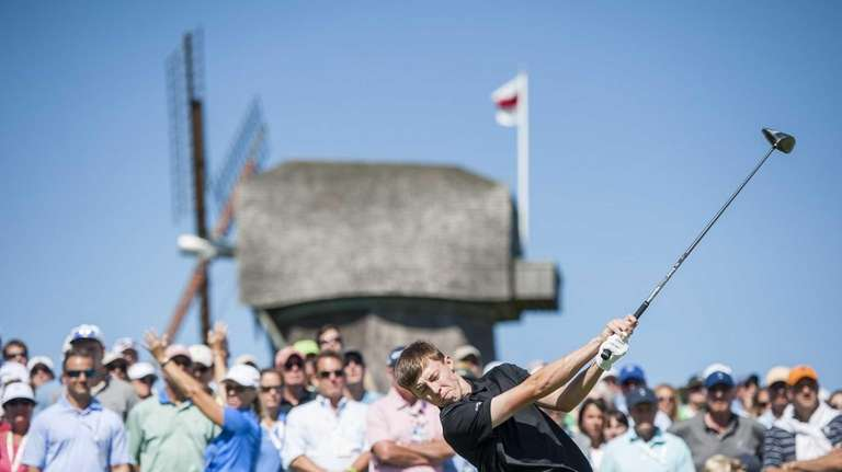 Great Britain and Ireland's Matthew Fitzpatrick tees off