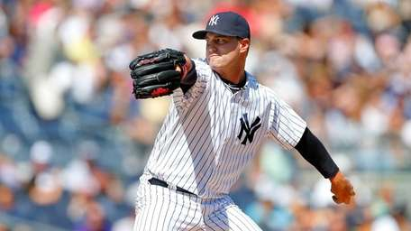David Huff #60 of the Yankees pitches against