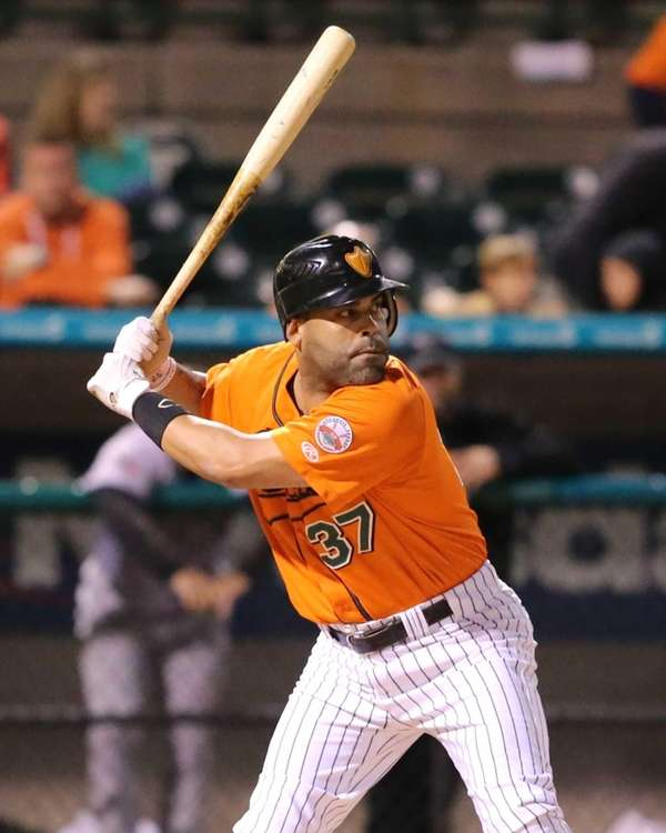 Ducks hitter Ramon Castro bats during the first