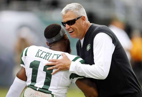 Rex Ryan greets Jeremy Kerley as the Jets