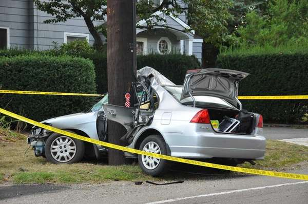 A car struck a utility pole on Elwood