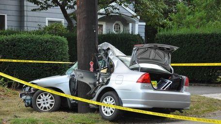 A car struck a utility pole on Elwood
