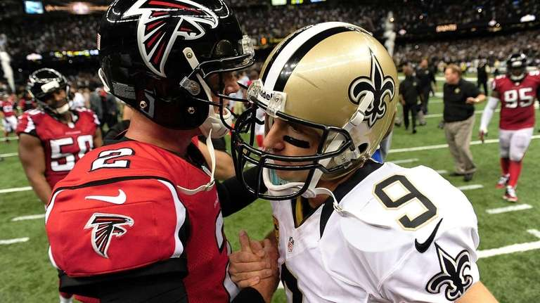 Atlanta Falcons quarterback Matt Ryan, left, and New