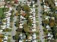 An aerial view shows a neighborhood in Nassau