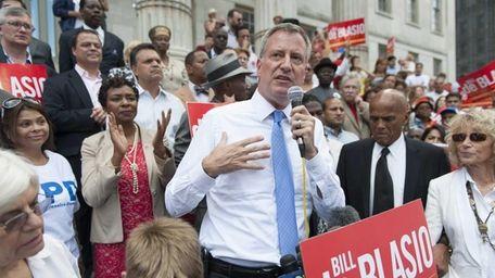 Democratic mayoral candidate Bill de Blasio speaks at