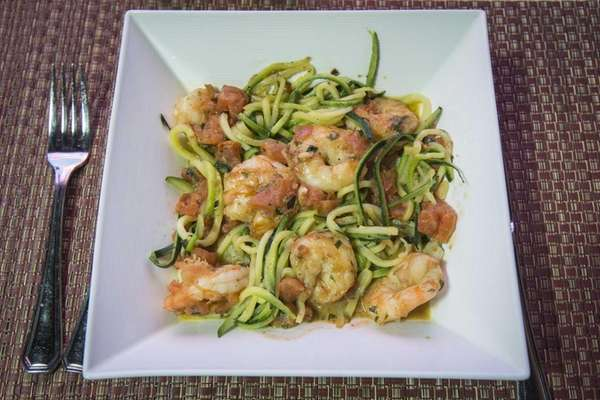 Angry shrimp over zucchini noodles is a signature