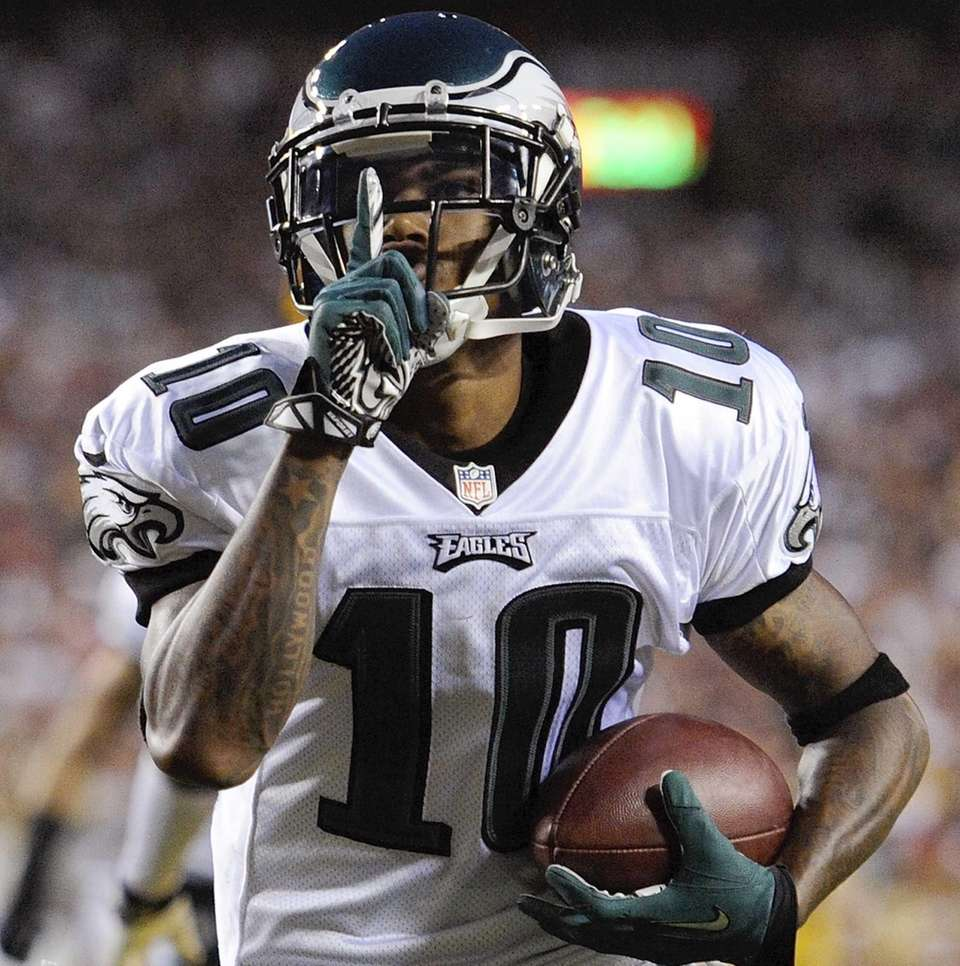 Philadelphia Eagles wide receiver DeSean Jackson celebrates his