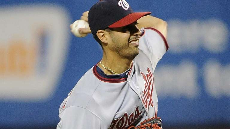 Washington Nationals starting pitcher Gio Gonzalez delivers a