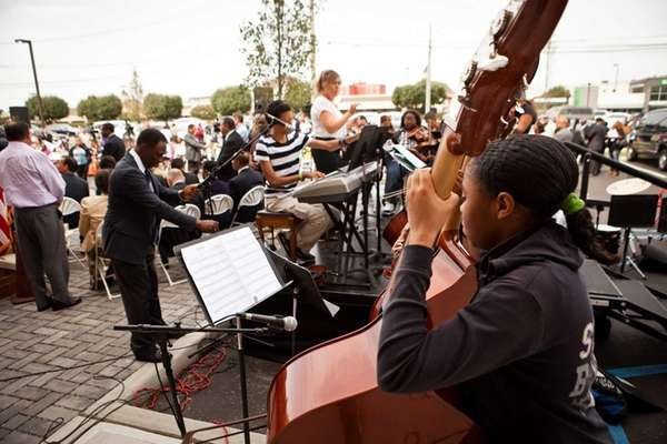 Hempstead High School students play music for the