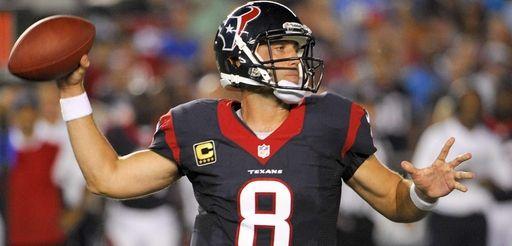 Houston Texans quarterback Matt Schaub throws during the