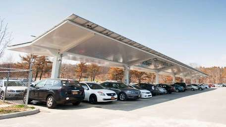 Solar carport at Farmingdale State College was unveiled.