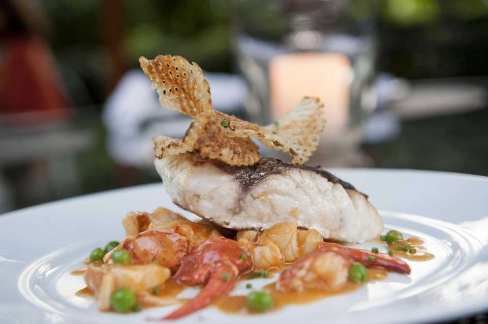 The striped bass with lobster tarragon sauce is