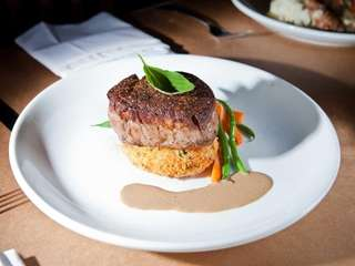 The filet mignon is tender and satisfying at