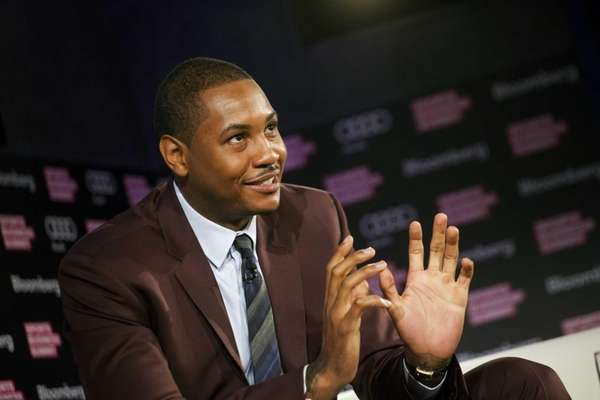 Carmelo Anthony speaks at the Bloomberg Sports Business