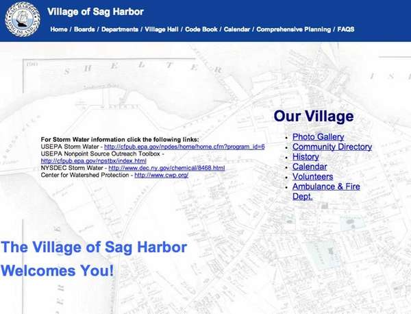 A screenshot of the Village of Sag Harbor's