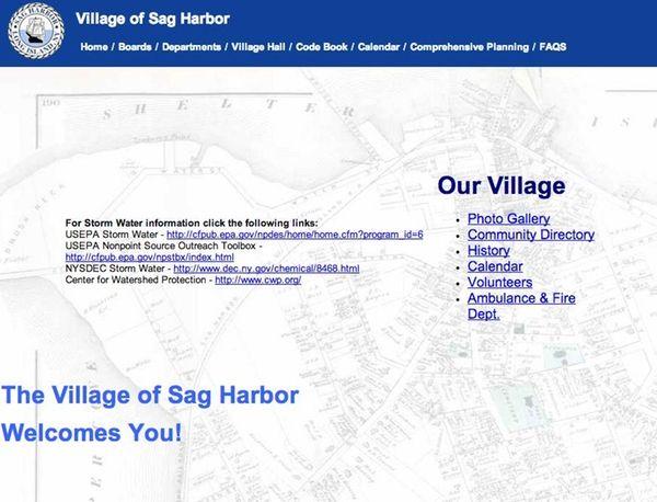A screenshot of the Village of Sag Harbor's