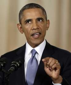 President Barack Obama speaks during a televised address