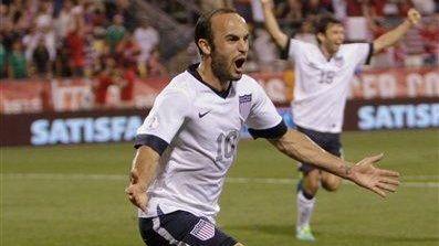 United States' Landon Donovan celebrates his goal against