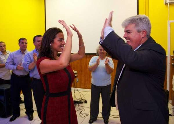 Monica Martinez celebrates her victory in the primary