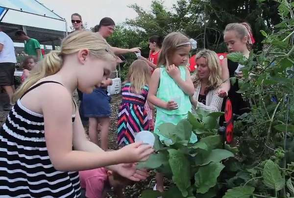 At Bayport Flower House's ladybug release, children were