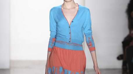 A peach and turquoise pleated number, and a