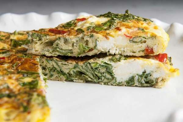 Kale, red pepper and goat cheese frittata. (Sept.