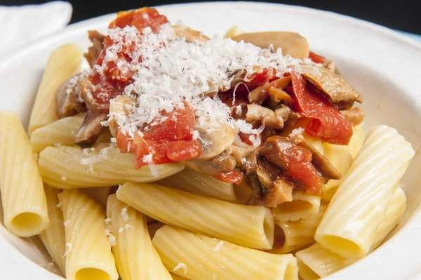 Rigatoni with porcini and tomatoes. (Sept. 5, 2013)