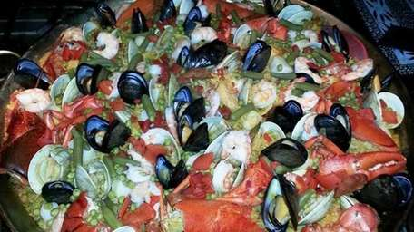 Paella is a specialty at Sangria 71, a