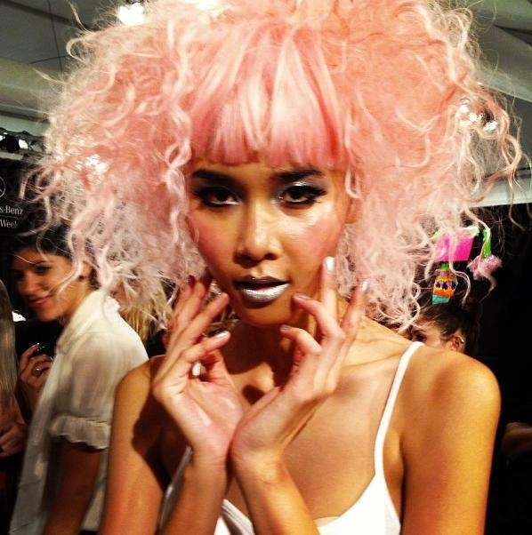 Backstage before the Betsey Johnson show at Fashion