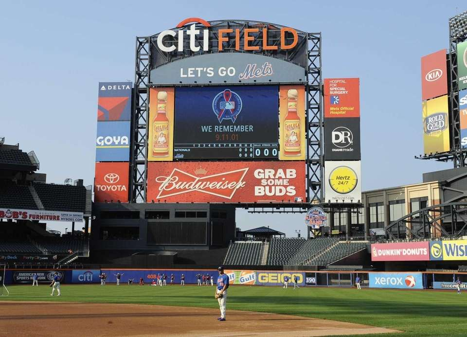 The screen at Citi Field is seen during