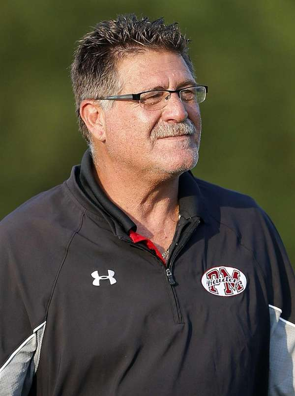 Patchogue-Medford boys varsity football head coach Gary Marangi