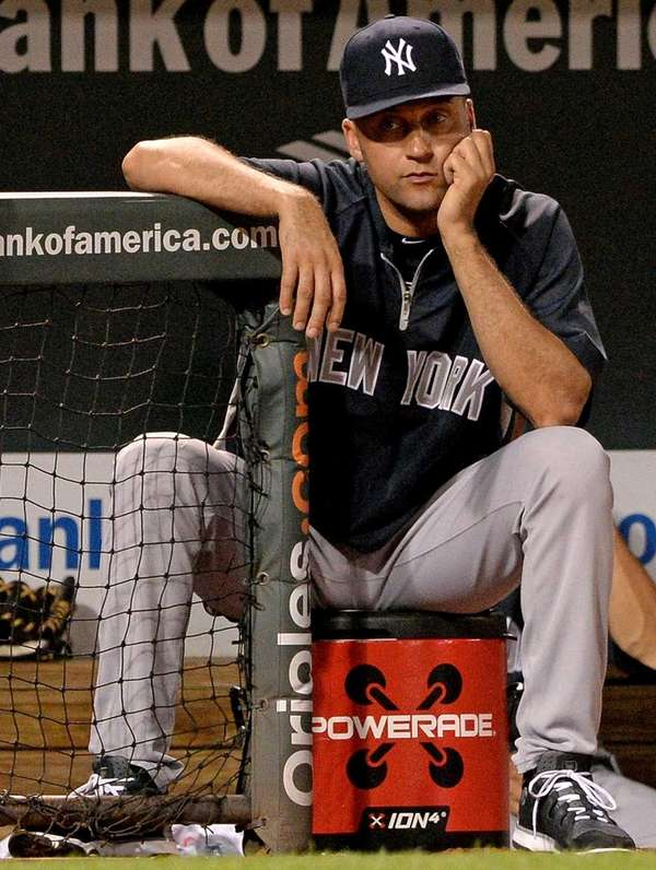 Derek Jeter looks on during a game against