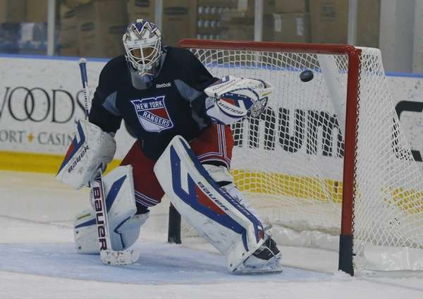 Henrik Lundqvist during Rangers training camp at the