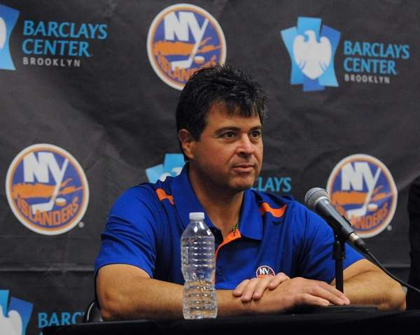 Islanders head coach Jack Capuano fields questions from