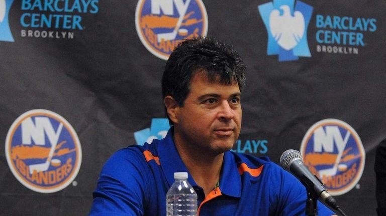Islanders head coach Jack Capuano fields questions from