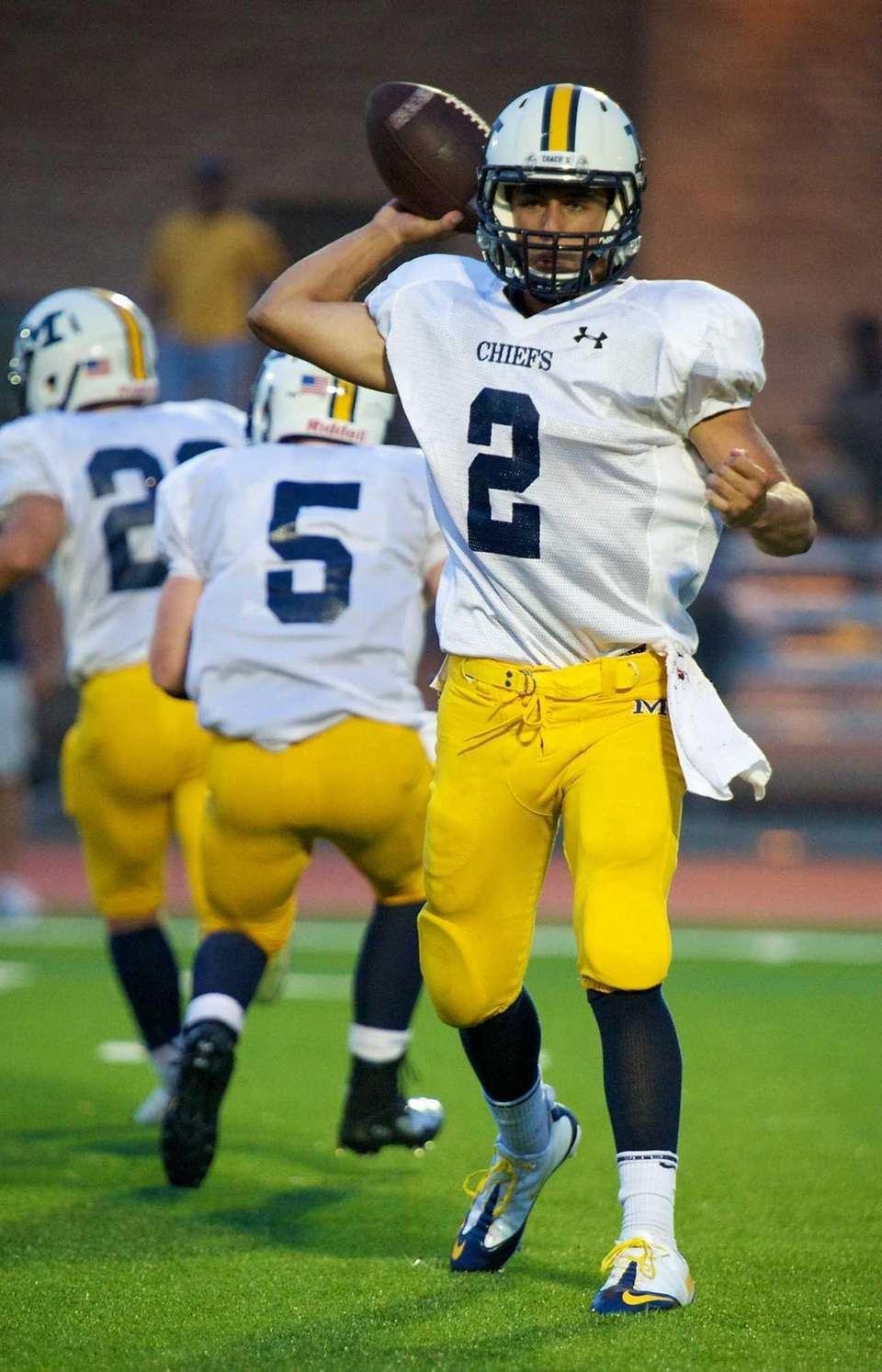 Massapequa quarterback Matthew Caracappa throws a screen pass