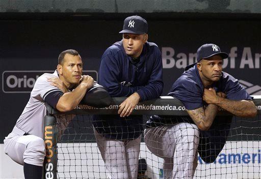Yankees' Alex Rodriguez, left, Derek Jeter and CC