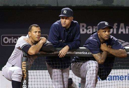 Yankees' Alex Rodriguez, left, Derek Jeter and CC