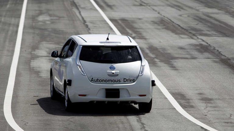 The Nissan Autonomous Drive Leaf electric vehicle is