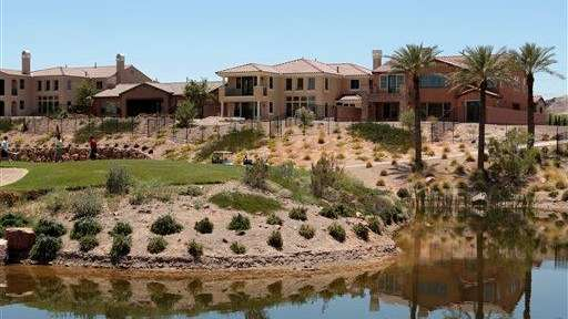 Newly built luxury homes are seen at Lake