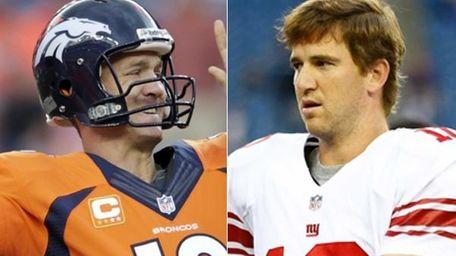 This composite image shows Denver Broncos quarterback Peyton