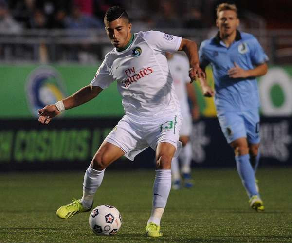 Cosmos midfielder Sebastian Guenzatti looks to make a