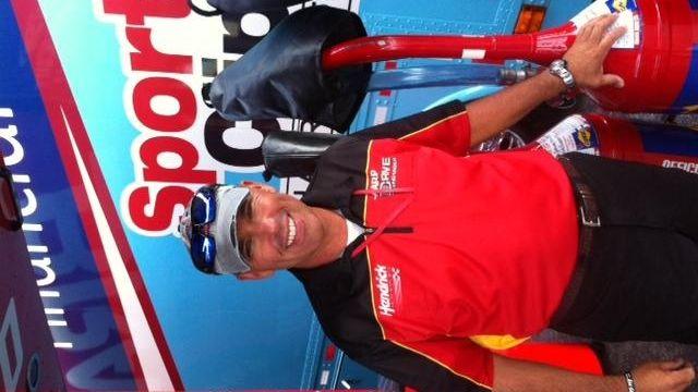 Eddie D'Hondt hangs out in the Nationwide garage