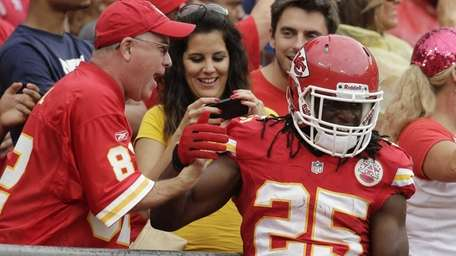 Kansas City Chiefs running back Jamaal Charles celebrates