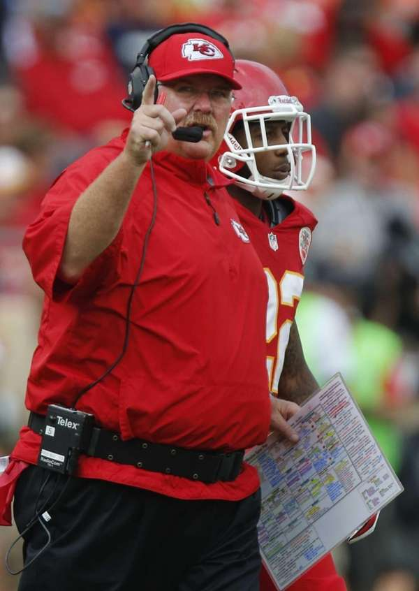 Kansas City Chiefs coach Andy Reid directs his