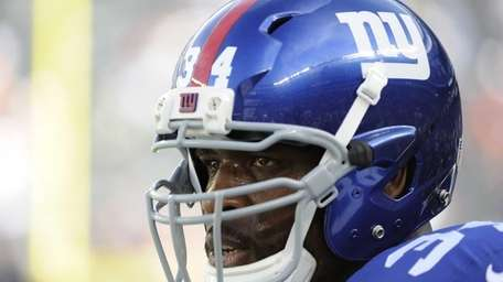 Brandon Jacobs is seen on the field during