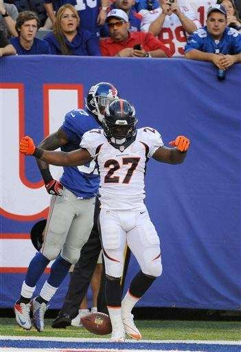 Denver Broncos running back Knowshon Moreno (no. 27)